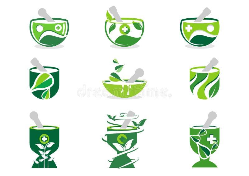Mortel- och mortelstötlogo, apoteklogoer, för naturillustration för medicin växt- uppsättning av designen för symbolsymbolsvektor royaltyfri illustrationer