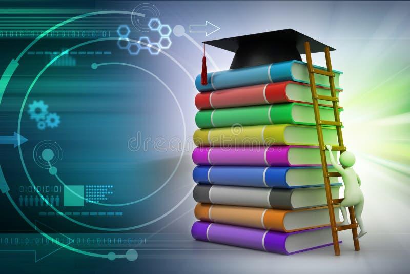 Mortero de la graduación encima de los libros stock de ilustración