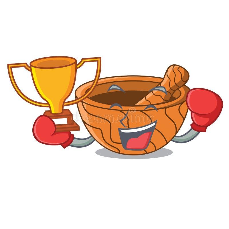 Mortero de madera de la cocina del ganador del boxeo aislado en mascota stock de ilustración