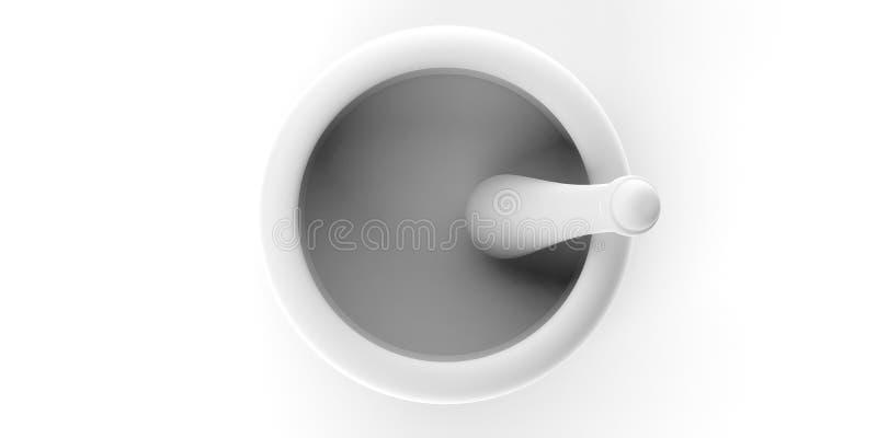 Mortero y maja aislados en el fondo blanco Visión superior ilustración 3D libre illustration