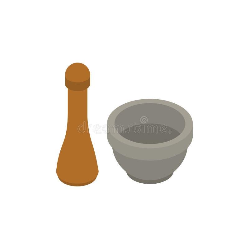 Mortero y maja aislados Equipo de la farmacia Ejemplo del vector del Dishware kitchenware libre illustration