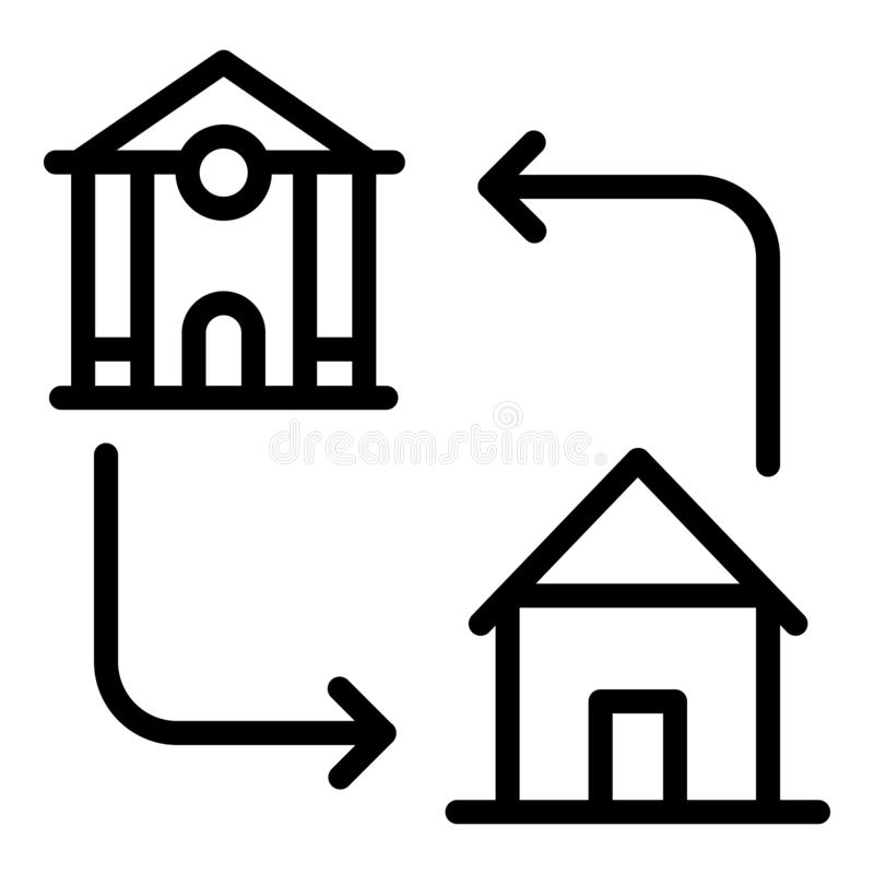 Mortgage accommodation icon, outline style. Mortgage accommodation icon. Outline mortgage accommodation vector icon for web design isolated on white background stock illustration