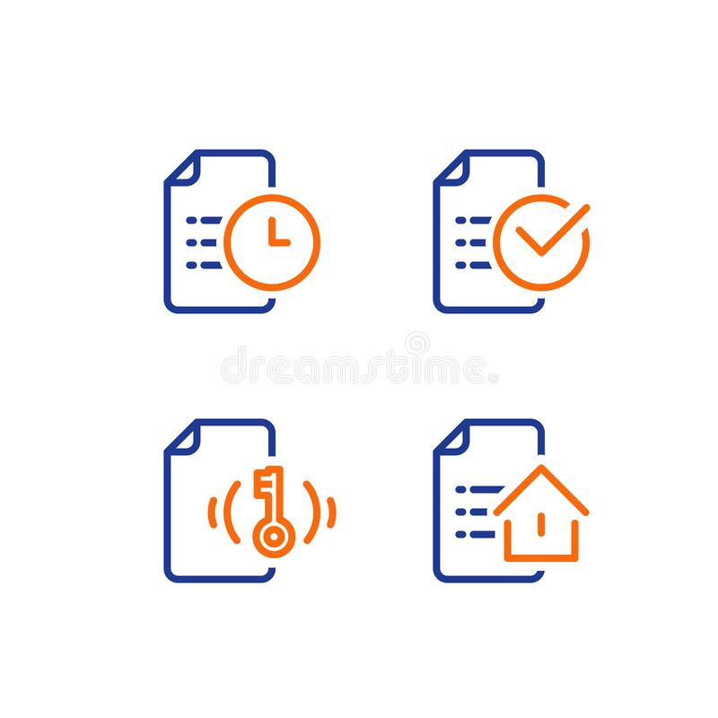 Rental house contract creation, mortgage application form, home loan terms and conditions, real estate concept, vector icon. Mortgage application form, rental royalty free illustration