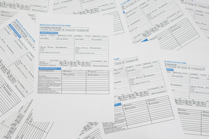 Mortgage application forms stock images