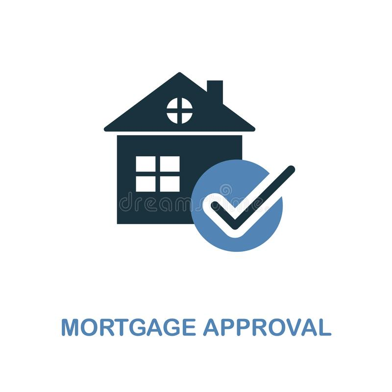Mortgage Approval icon in two colors design. Pixel perfect symbols from personal finance icon collection. UI and UX. Illustration. Mortgage Approval creative royalty free illustration