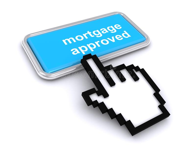Mortgage approved button vector illustration