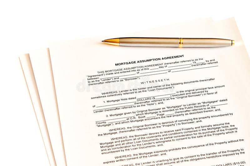 Mortgage Assumption Agreement With A Pen Stock Image Image Of