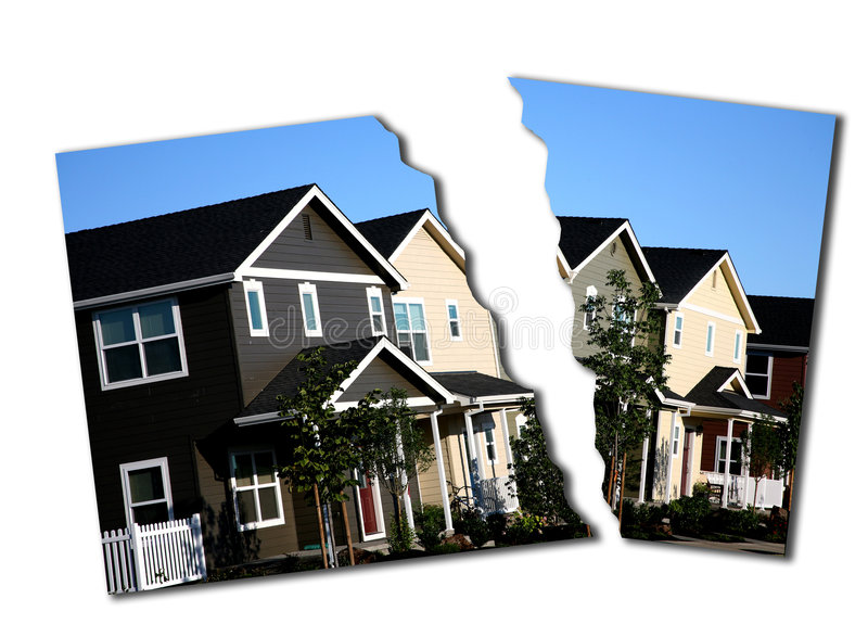 Mortgage Collapse Foreclosure. Photo Illustration of Mortgage Market Collapase, Foreclosure and Break Down