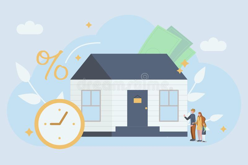 Mortgage concept. Young family buy a new house. Abstract ownership agreement visualization. royalty free illustration