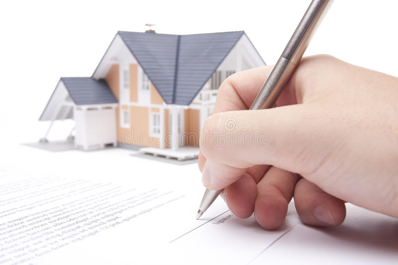 Mortgage contract. Man confirm mortgage contract (estate agency client sign contract stock images