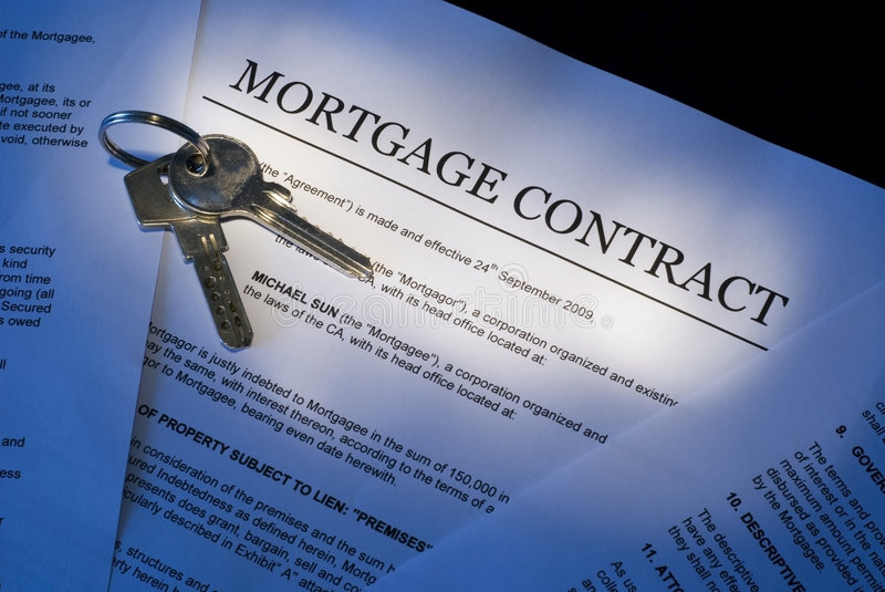 Mortgage contract stock image