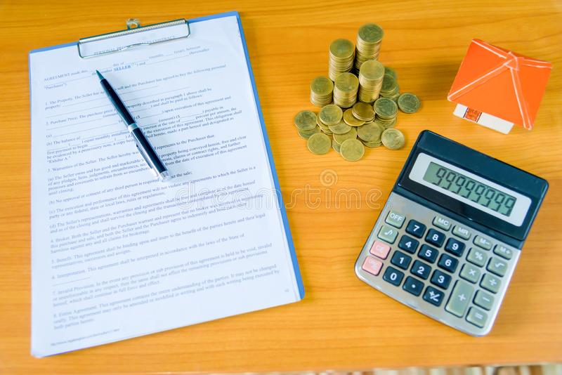 Mortgage contract for sale of real estate property royalty free stock photography