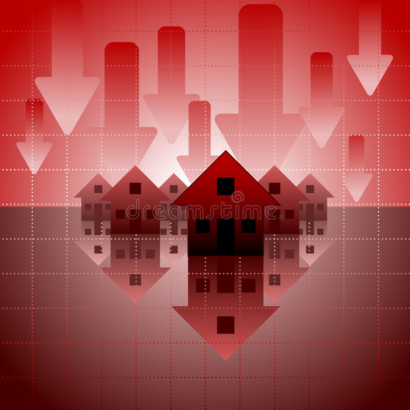 Mortgage crisis. Background with iconic houses