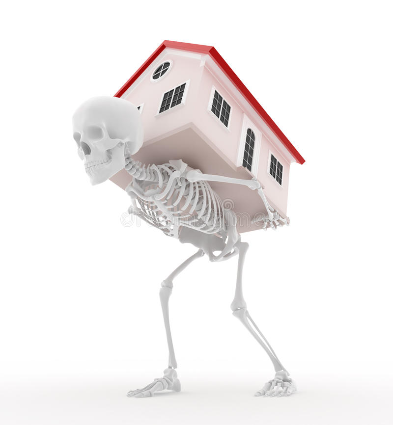 Mortgage - Dead Pledge. Skeleton carrying a house. Rent is dead money or Mortgage for life vector illustration