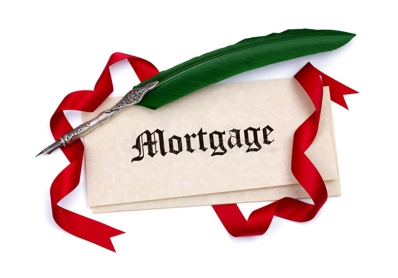 Mortgage document papers and quill pen. Mortgage document papers quill pen and red ribbon on white stock photography