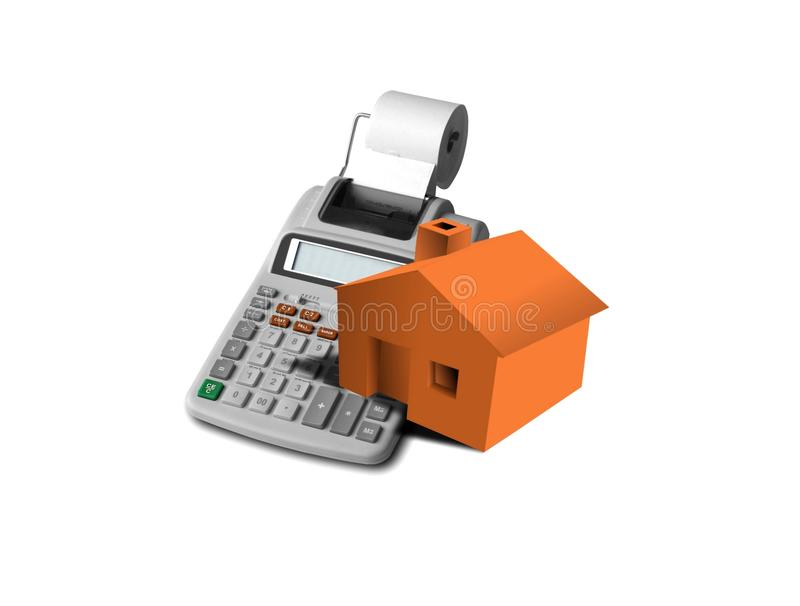 Mortgage and down payment. Image of calculator and monopoly house over white royalty free stock photos