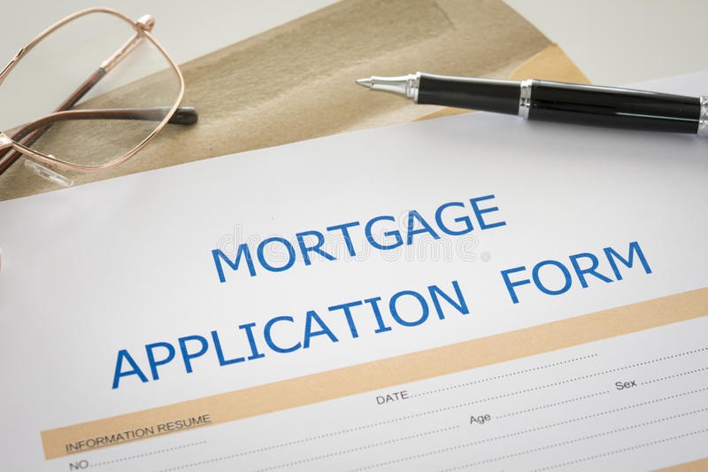 Mortgage loan application stock photo