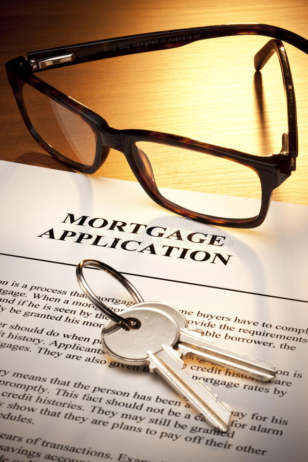 Free Mortgage Loan Application Keys Stock Photos - 55881063