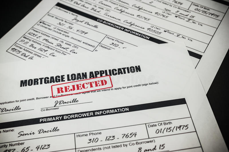 Mortgage Loan Application Rejected 008. Filled-up mortgage loan application form with rejected stamp stock photos