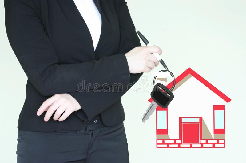 Mortgage loan concept.insurance at home stock photo
