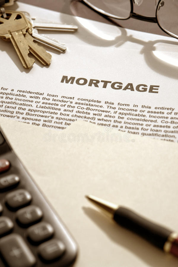 Mortgage Loan Contract Document on Lender Desk stock image