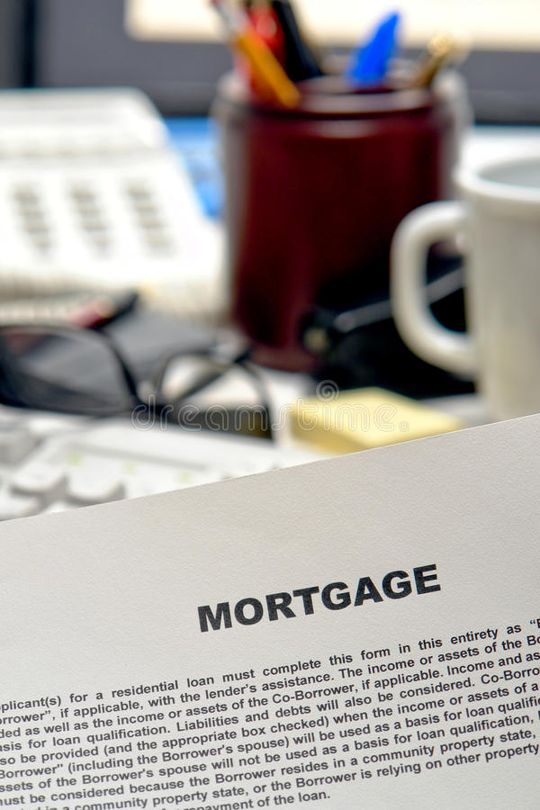 Download Mortgage Loan Contract Document On Lender Desk Stock Image - Image: 12736683