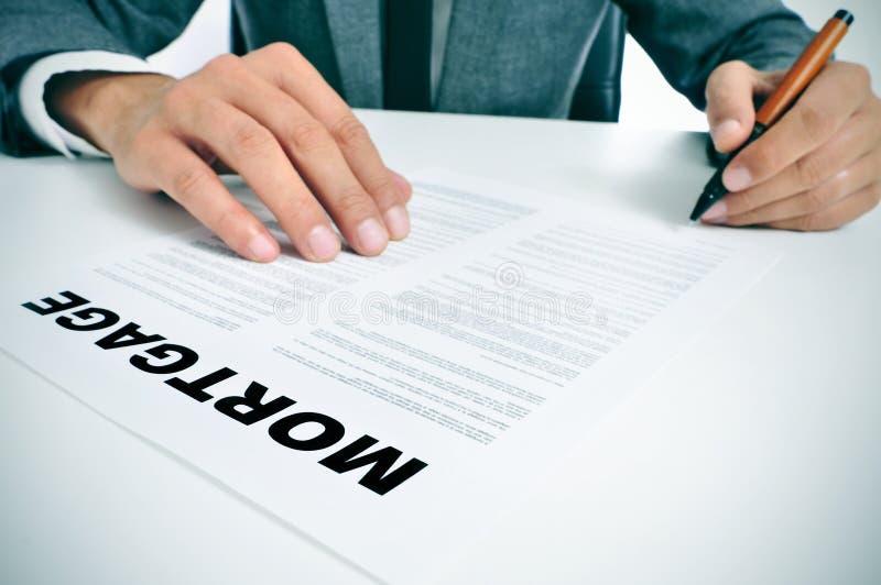 Mortgage loan contract stock photos