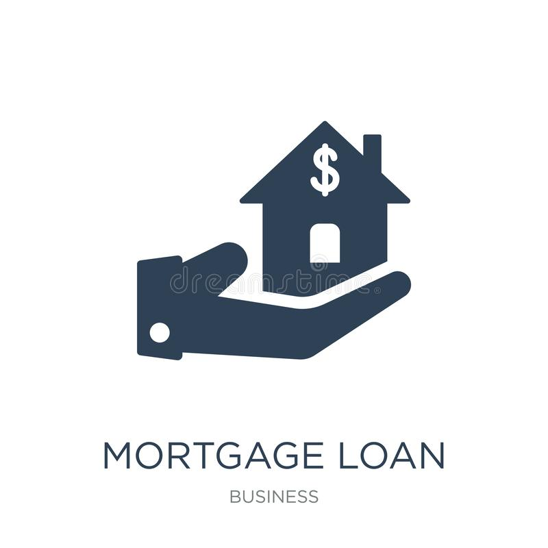 mortgage loan icon in trendy design style. mortgage loan icon isolated on white background. mortgage loan vector icon simple and vector illustration