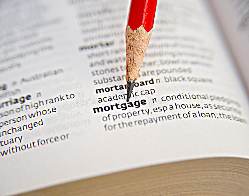 Mortgage: loan secured by property. stock images