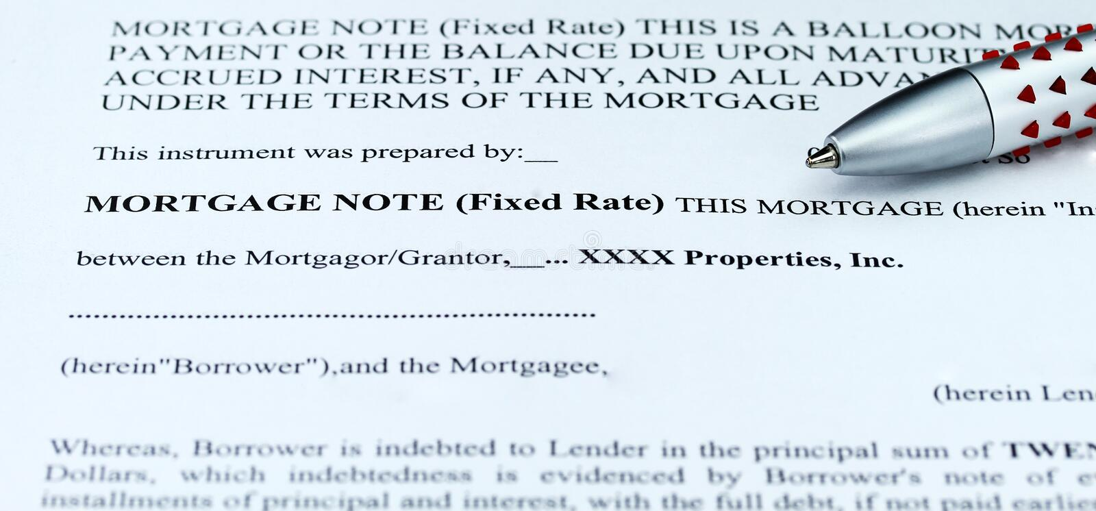 Mortgage Note Stock Photo Image Of Writing Contractual
