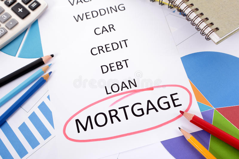Mortgage plan, house purchase savings. The word Mortgage circled in red with a list of saving and debt obligations surrounded by graphs, charts, books and royalty free stock photography