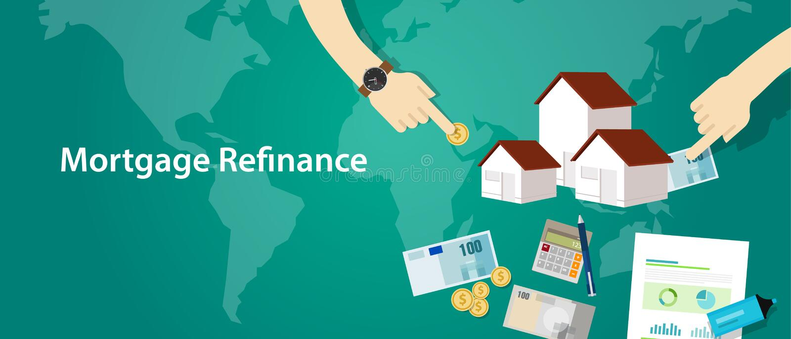 Mortgage refinance home house loan debt. Vector royalty free illustration