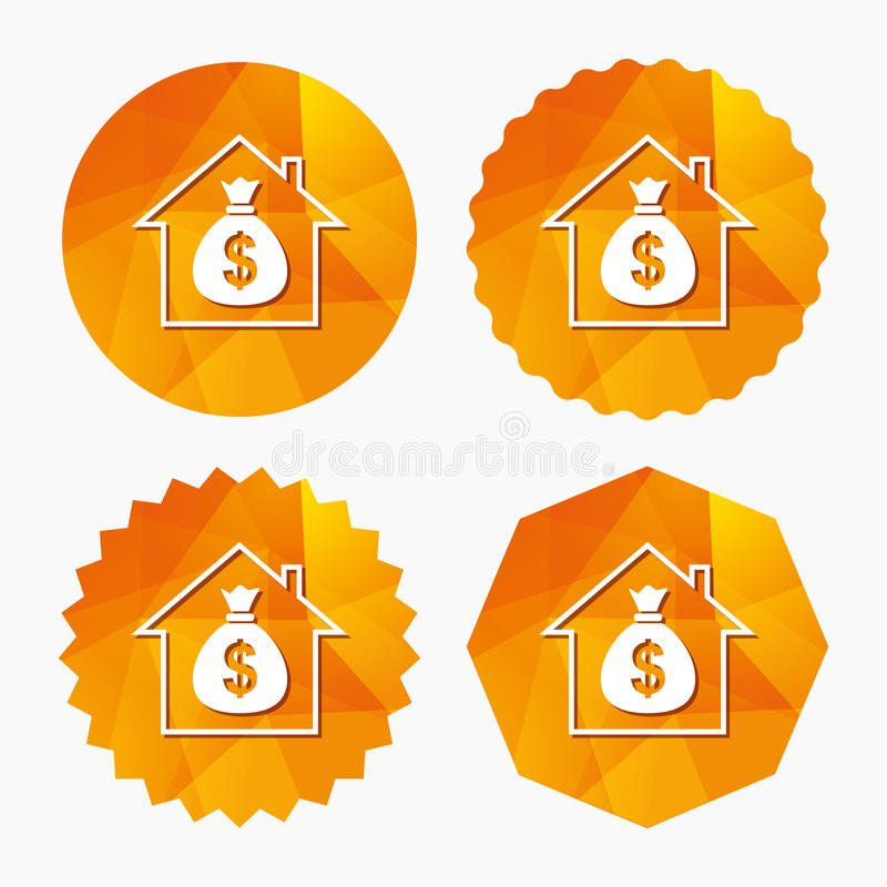 Mortgage sign icon. Real estate symbol. Bank loans. Triangular low poly buttons with flat icon. Vector royalty free illustration