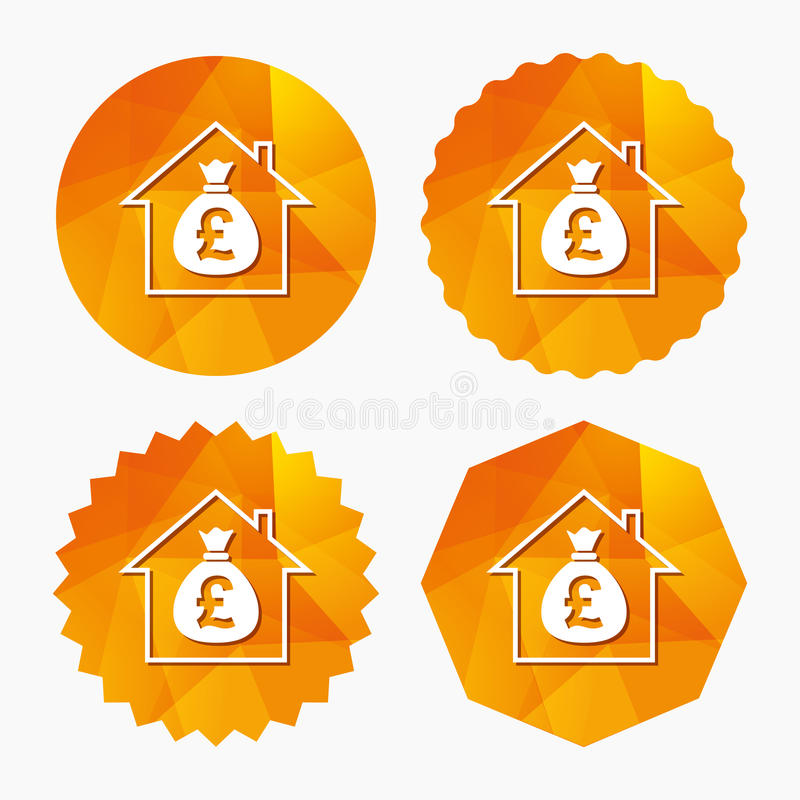 Mortgage sign icon. Real estate symbol. Bank loans. Triangular low poly buttons with flat icon. Vector vector illustration
