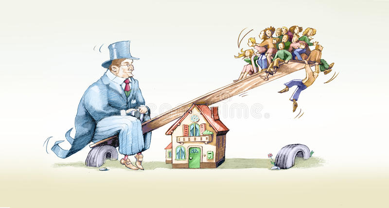 Mortgage. Swing between a financier and the people who come on a mortgage royalty free illustration