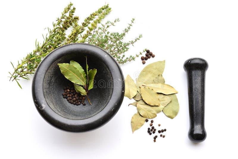 Mortier avec des feuilles et des herbes de baie photographie stock