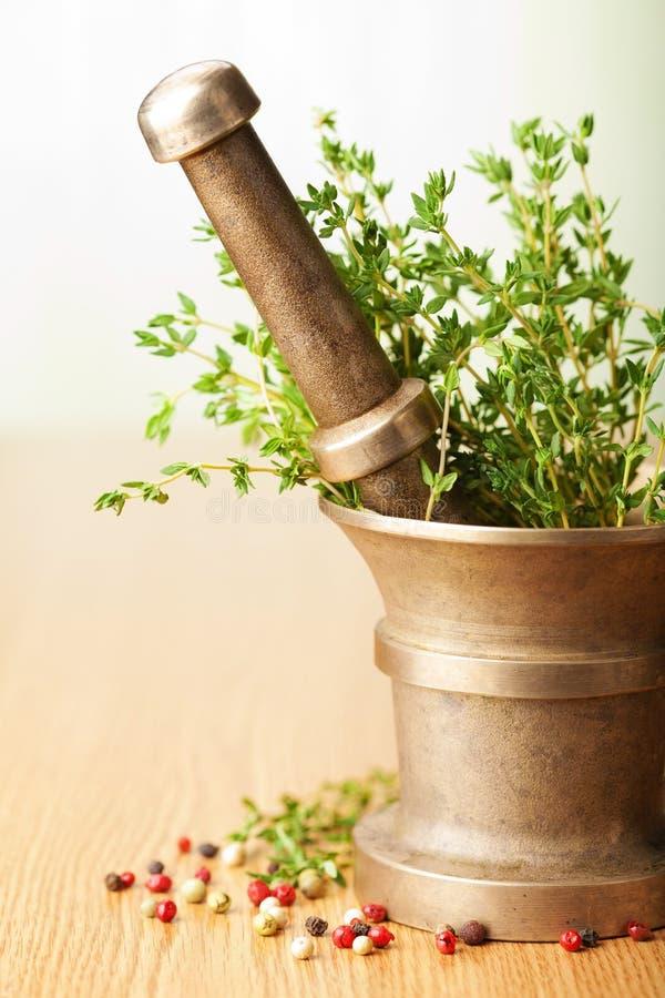 Mortier avec des herbes photo stock