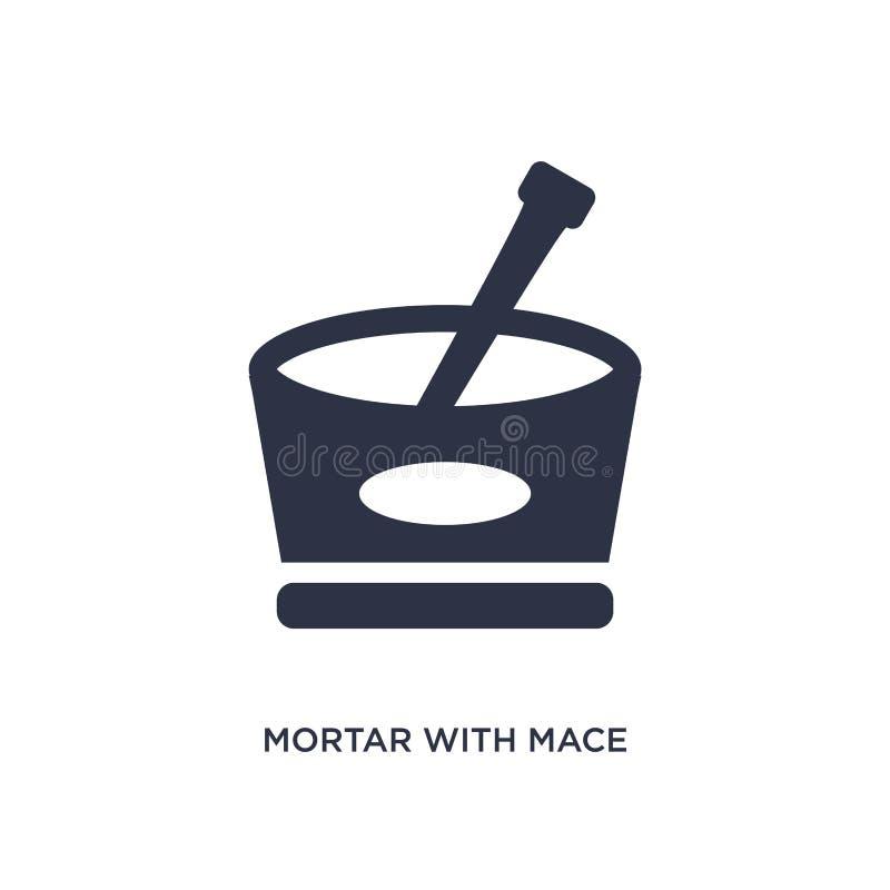 mortier avec l'icône de macis sur le fond blanc Illustration simple d'élément de concept de Bistros et de restaurant illustration libre de droits