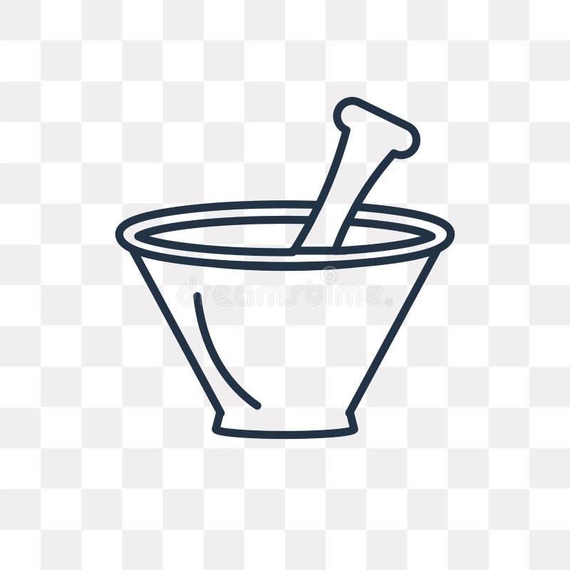 Mortier avec l'icône de vecteur de macis d'isolement sur le fond transparent, illustration stock