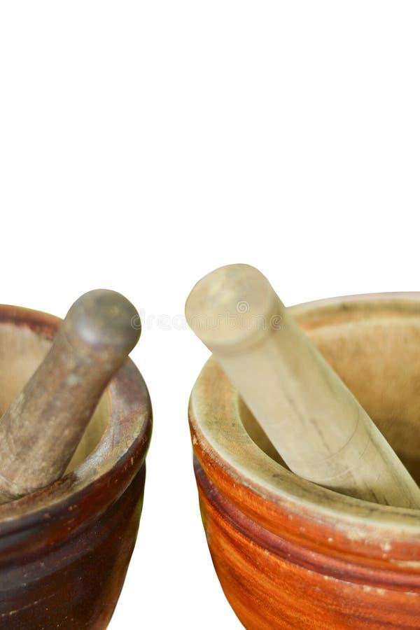Mortier, bois pour faire de la salade images libres de droits