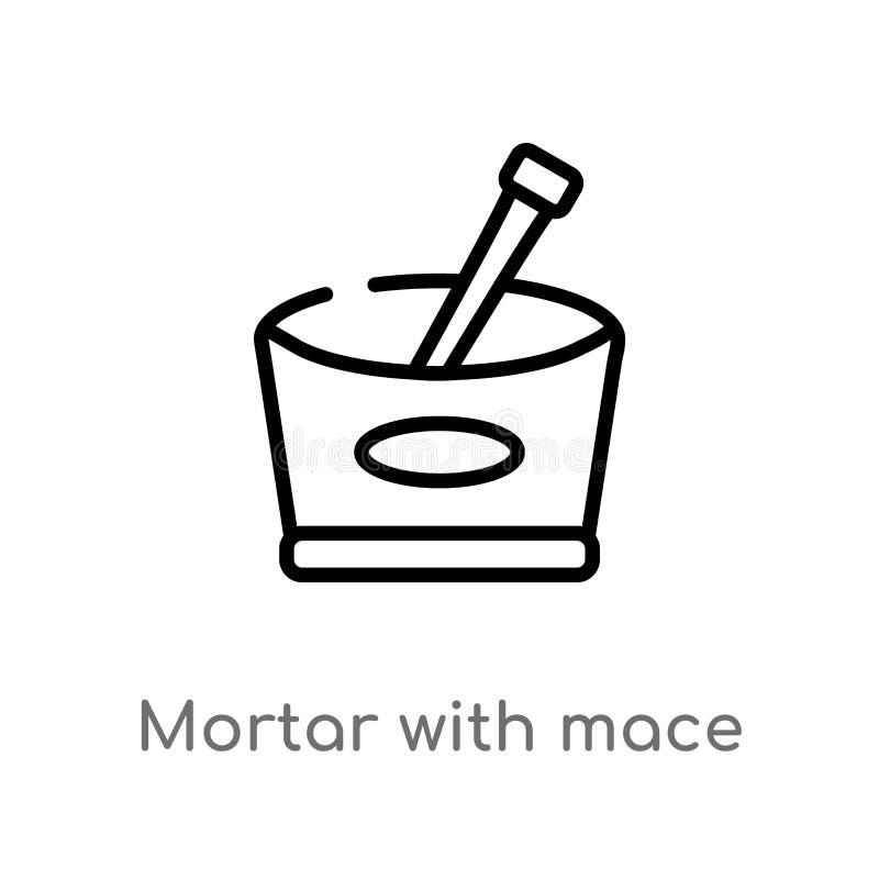 mortier d'ensemble avec l'ic?ne de vecteur de macis ligne simple noire d'isolement illustration d'?l?ment de concept de Bistros e illustration de vecteur