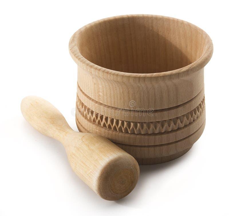 Mortier en bois images libres de droits