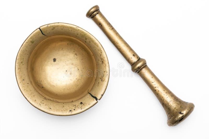 mortier en bronze vieux D'isolement sur le fond blanc image stock
