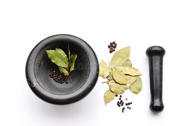 Mortier et pilon avec des herbes et des épices photos stock