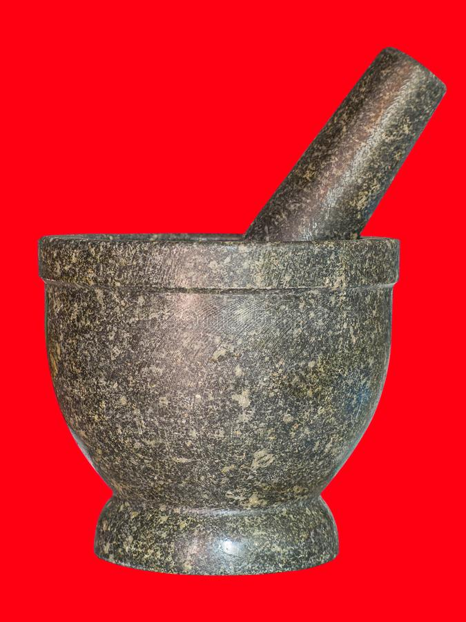 Mortier et pilon en pierre photographie stock libre de droits