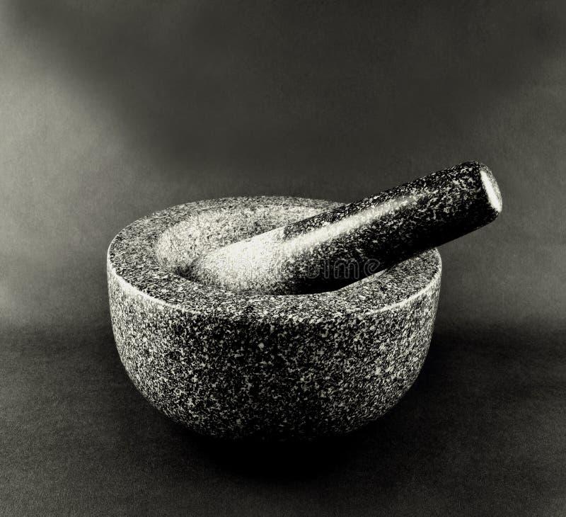 Mortier et pilon en pierre images libres de droits