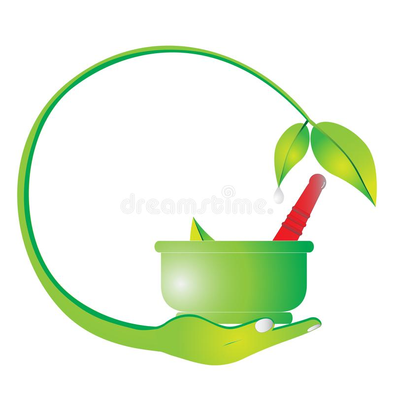 Mortier et pilon feuille de fines herbes, verte logo illustration de vecteur