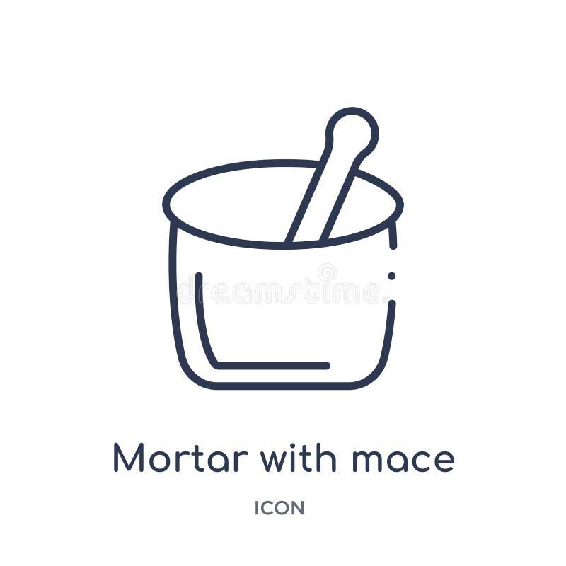 Mortier linéaire avec l'icône de macis de la collection d'ensemble de Bistros et de restaurant Ligne mince mortier avec le vecteu illustration stock