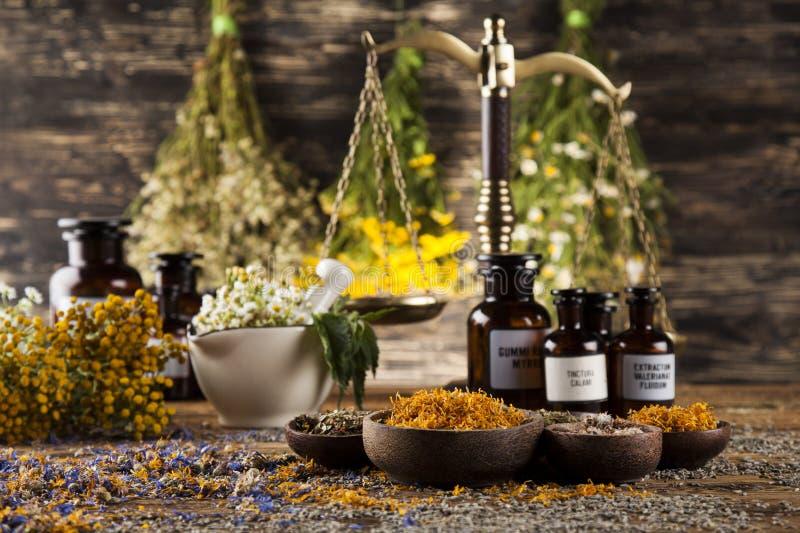 Mortier, médecine parallèle et remède naturel photographie stock libre de droits