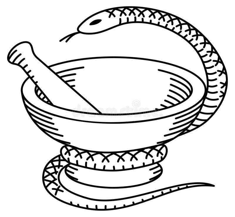 Mortier pharmaceutique, pilon et un serpent. illustration de vecteur